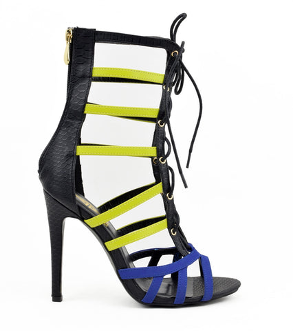 """GEMINI"" multicolor caged lace up heel"
