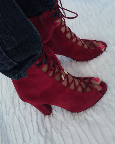 """CYNTHIA"" red open toe lace up bootie"