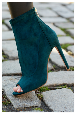 """CELINE"" peacock green ankle bootie"