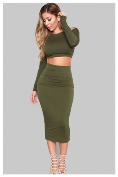 """OLIVE YOU"" olive green crop top 2 piece skirt set"