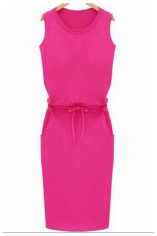 """YOUR EVERYDAY"" pink casual drawstring sleeveless dress"