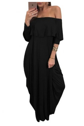 """COMFORT ZONE""  off the shoulder 3/4 sleeve oversized maxi dress with pockets (available in black, olive, blue and red)"