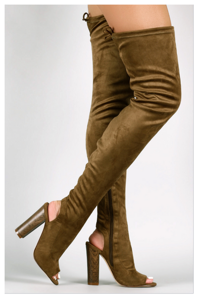 """ABOVE AVERAGE"" olive suede thigh high boots"