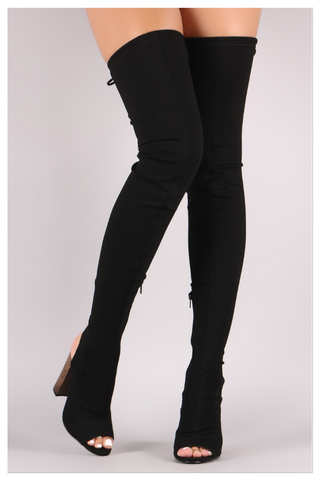 """ABOVE AVERAGE"" black stretch thigh high boots"