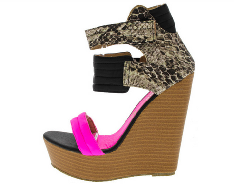 """LOUD"" neon pink wedge heel"