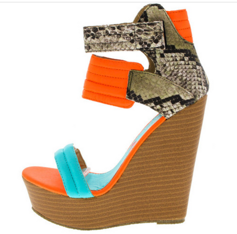 """LOUD"" neon orange wedge heel"