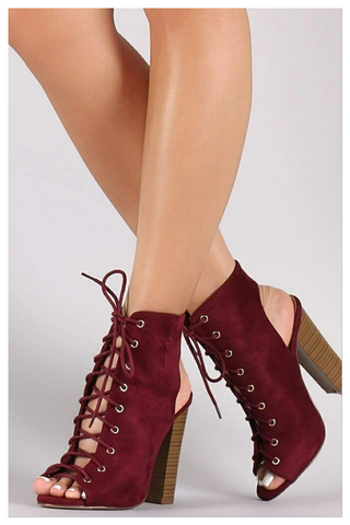 """FINE"" burgundy chunky cut out lace up heel"