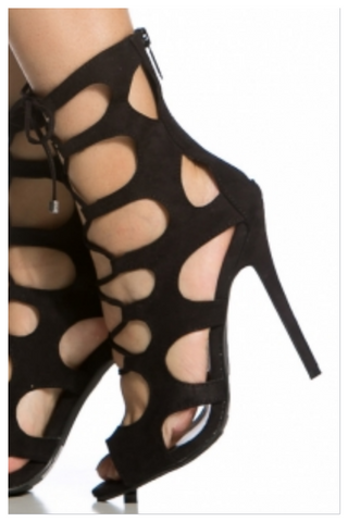 """KANDYSE"" caged cutout lace up heel"