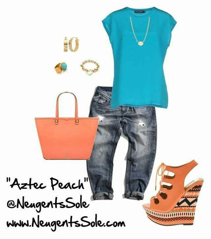 """AZTEC PEACH"" wedge heel"