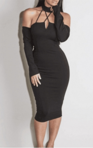 """DATE NIGHT"" black choker bodycon dress"