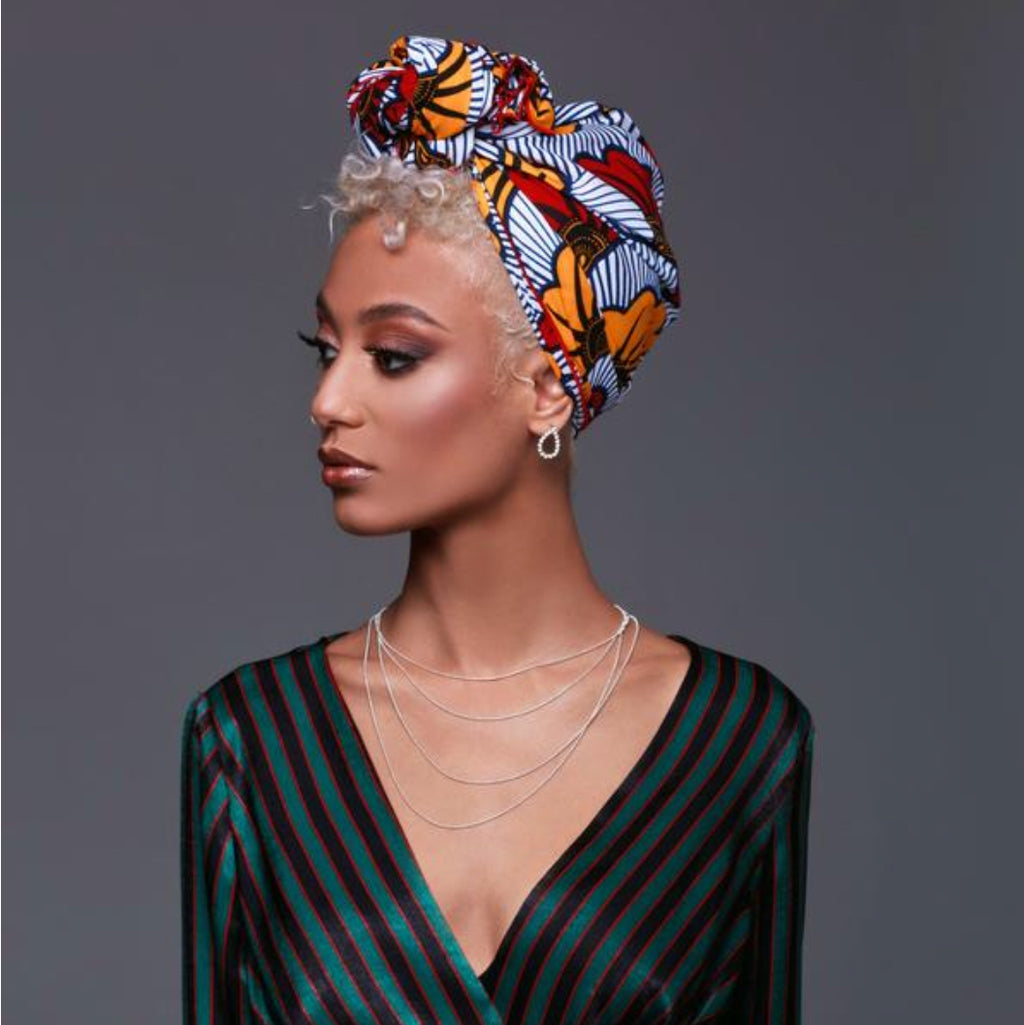 Qamata Silk-Lined White Headwrap - Headwraps