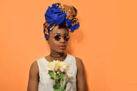 Blue Nubia Silk Lined Headwrap - Headwraps