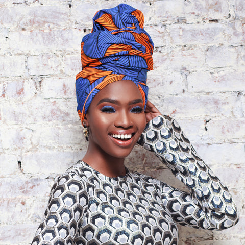 Blue Tinashe Headwrap - Head Wraps