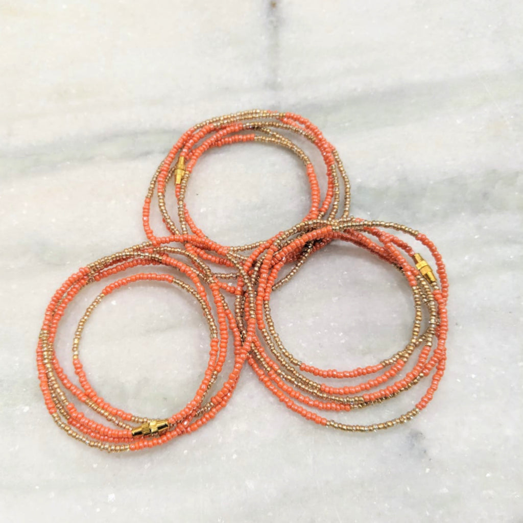 Coral and Gold Waist Beads
