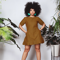 Feza Pleated Short Sleeve Dress