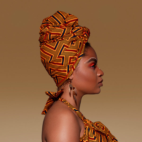 Gold Maze Silk Lined Headwrap - Head Wraps