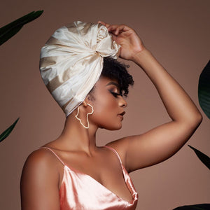 Creme Raw Silk Headwrap