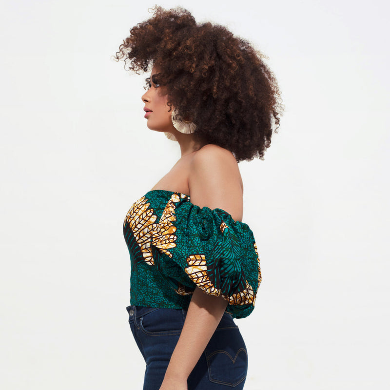Nduna Bubble Sleeve Crop Top