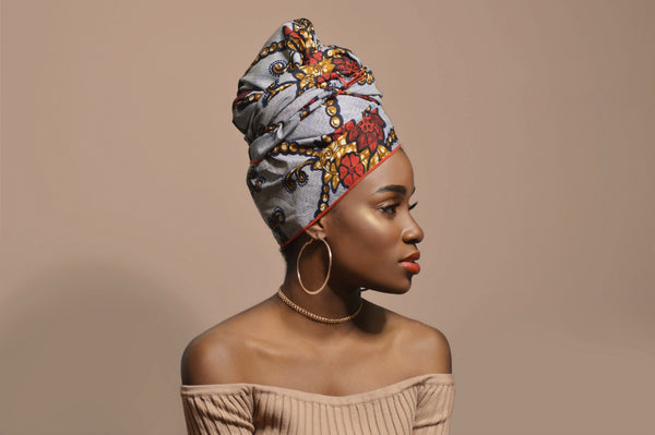 Red Floral Denim Silk Lined Headwrap - Headwraps