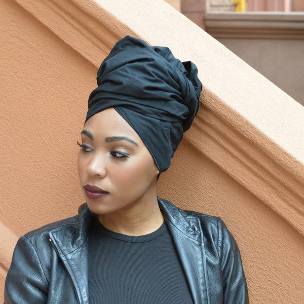 Ebony Silk Lined Headwrap - Headwraps