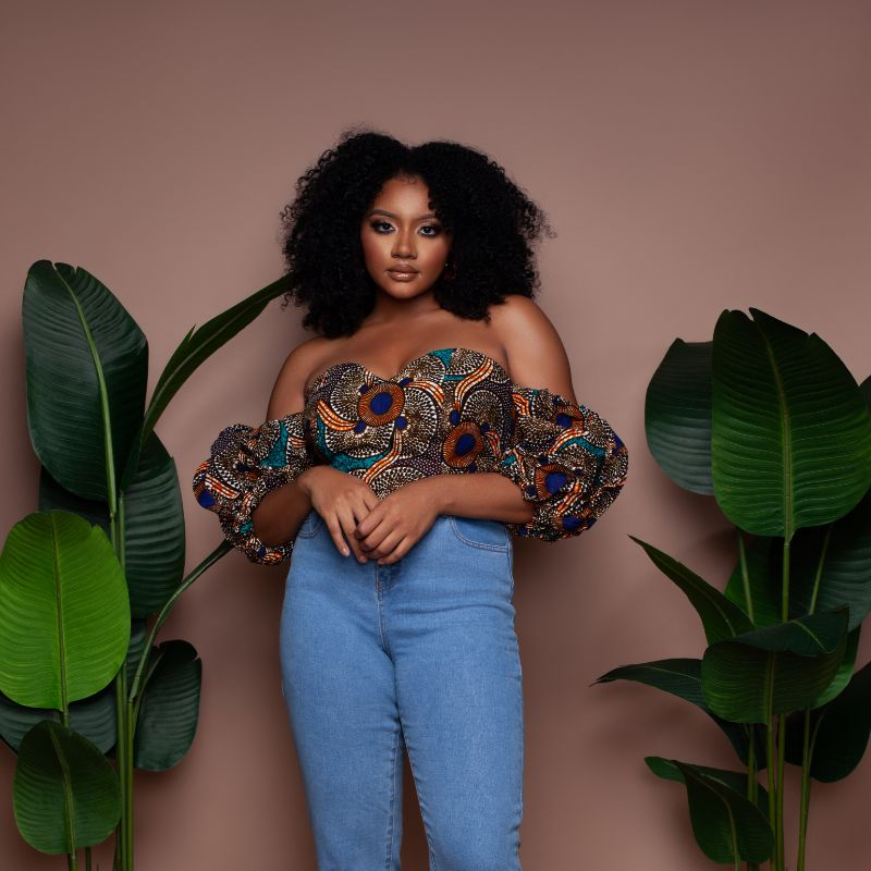 Mrembeisha Bubble Sleeve Crop Top