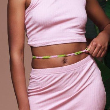 Pink and Green Waist Beads