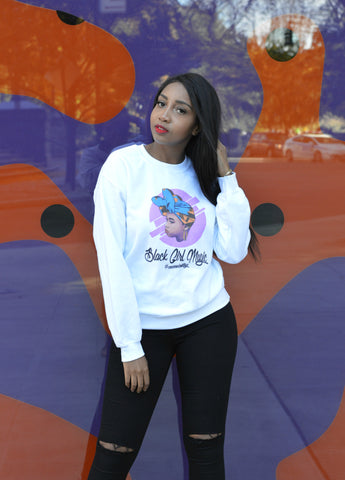 Black Girl Magic Sweatshirt - White - Headwraps