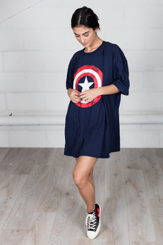 Marvel Comics Captain America Distressed Shield Unisex Dress T-shirt