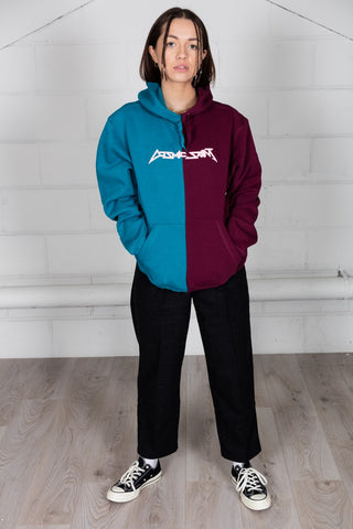 Cosmic Saint Two Tone Diva Blue Burgundy Half Hoodie