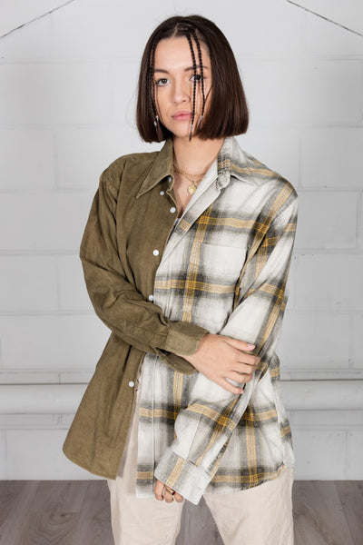 Vintage Corduroy Flannel Unisex Reconstructed Shirt