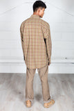 Vintage Checked Brown Corduroy Shirt