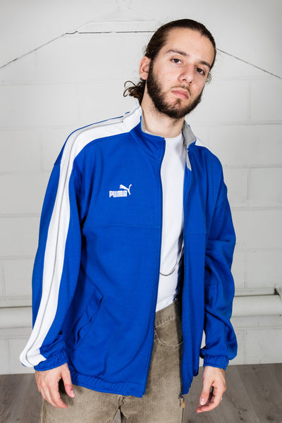 Vintage Puma Blue & White Track Top