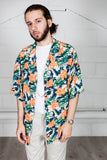 Vintage Orange & Blue Flower Hawaai Shirt