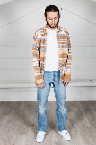 Vintage Brown Orange Grey Flannel Shirt