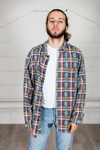 Vintage Red Blue Green Checked Flannel Shirt