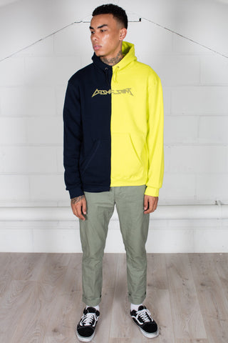 Cosmic Saint Two Tone Lime Navy Half Hoodie