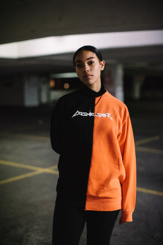 Cosmic Saint Orange Black Half Sweatshirt