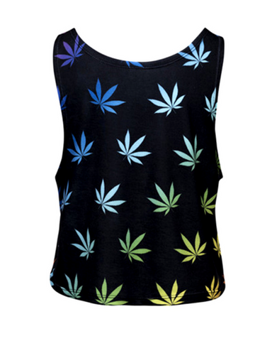 Rainbow Weed Crop Top