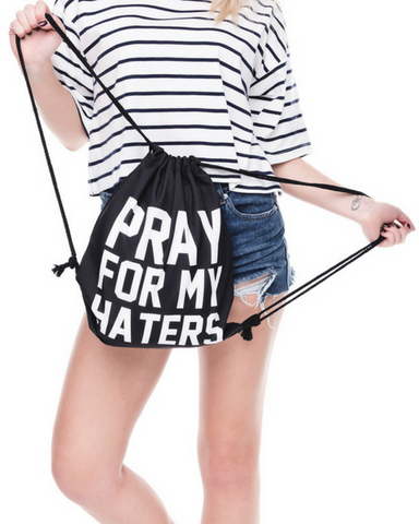 Pray For Haters Drawstring Bag
