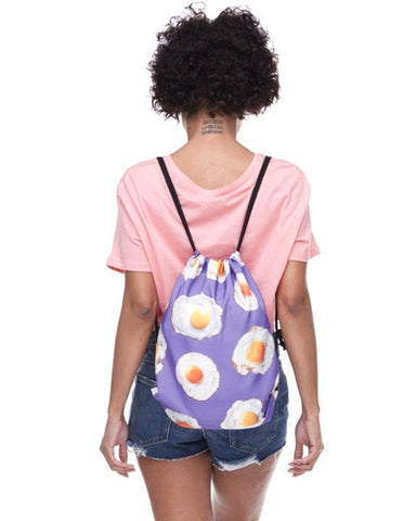 Purple Egg Drawstring Bag