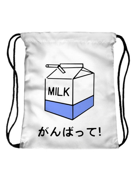 Japanese Milk Drawstring Bag