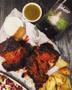 Cold-smoked garlic and chipotle ribs, served with our 2014 Ghost Clare Valley Shiraz