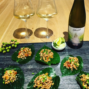 Savoury Pork wrapped in Betel Leaves served with Ghost Wines Clare Valley Pinot Gris