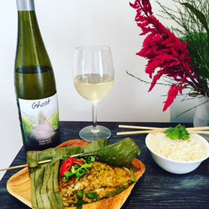 Coconut Barra in Banana Leaf Recipe with 2014 Ghost Clare Valley Pinot Gris