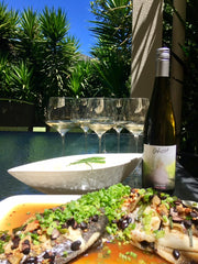 BBQ KI sweep with spicy black beans and Ghost Clare Valley Pinot Gris