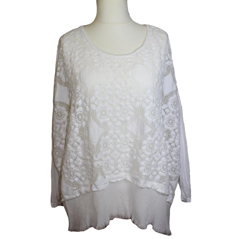 Cotton Embroidered Frayed Edge Cotton Top