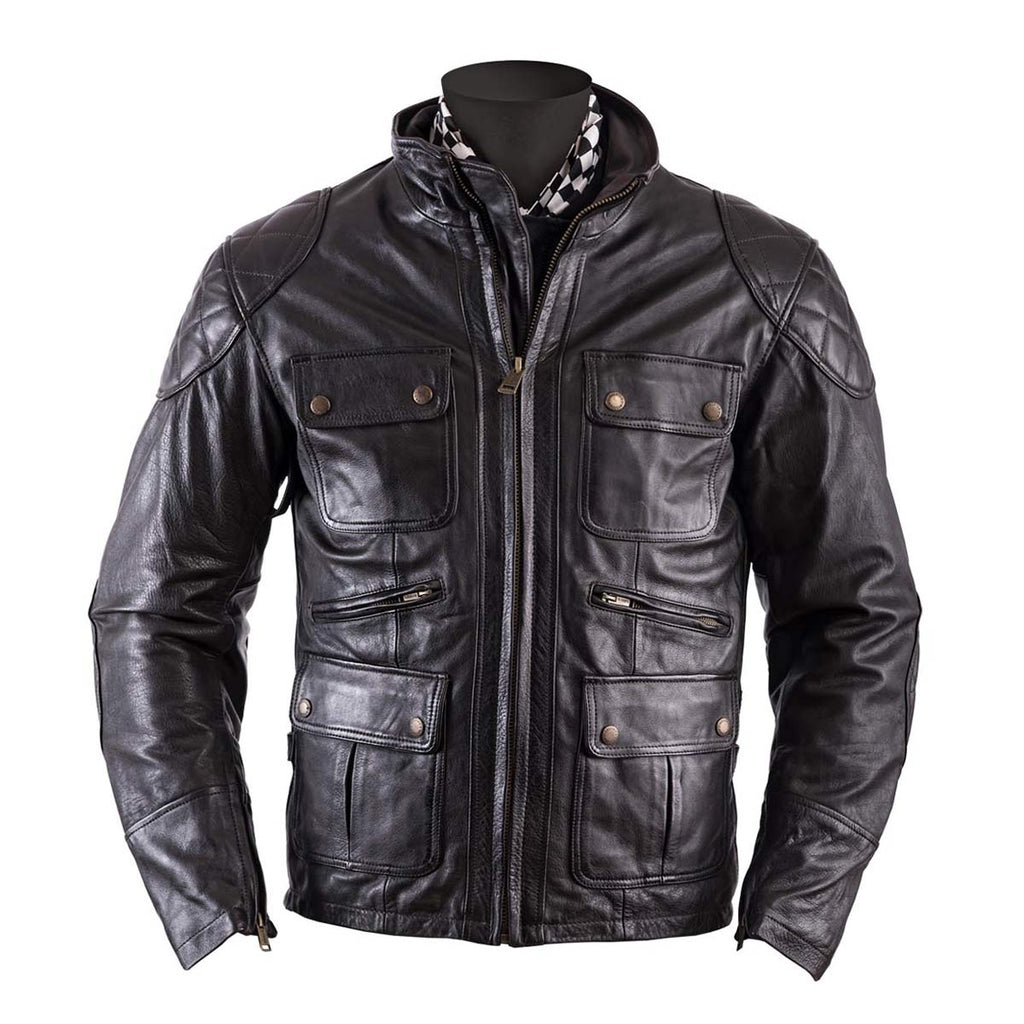 Helstons Hunt Leather Motorcycle Jacket - Brown