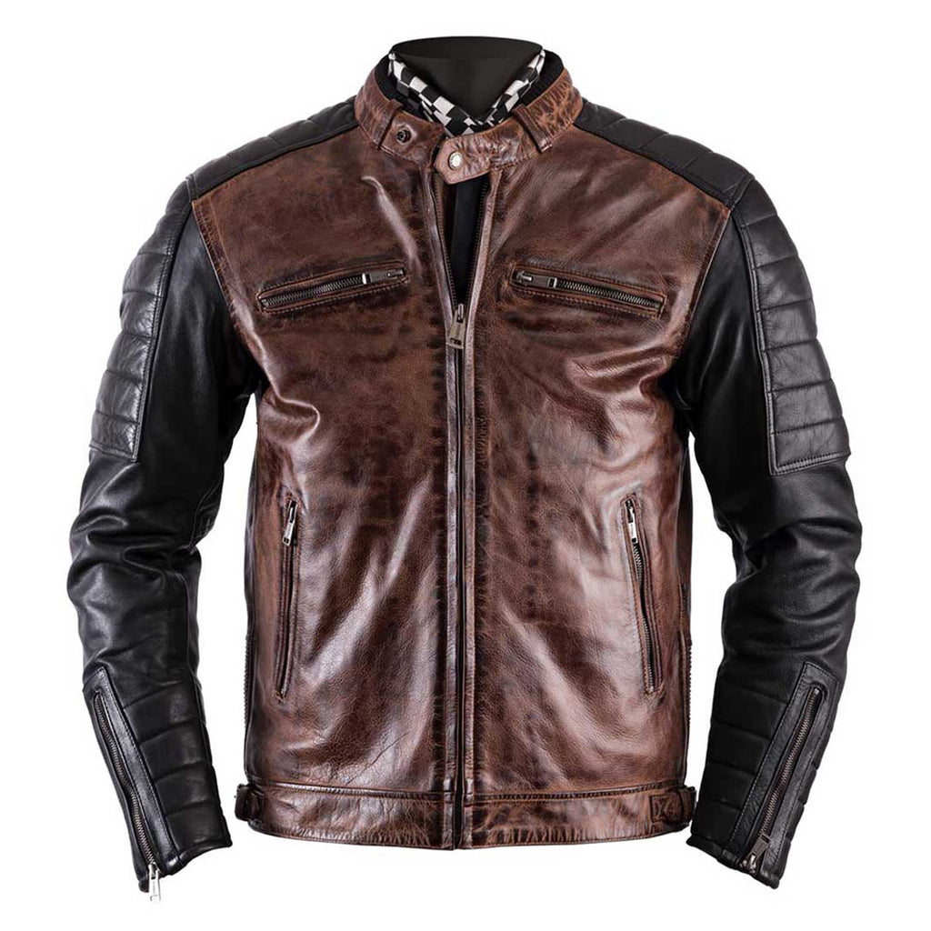Helstons Cruiser Camel-Black Leather Motorcycle Jacket