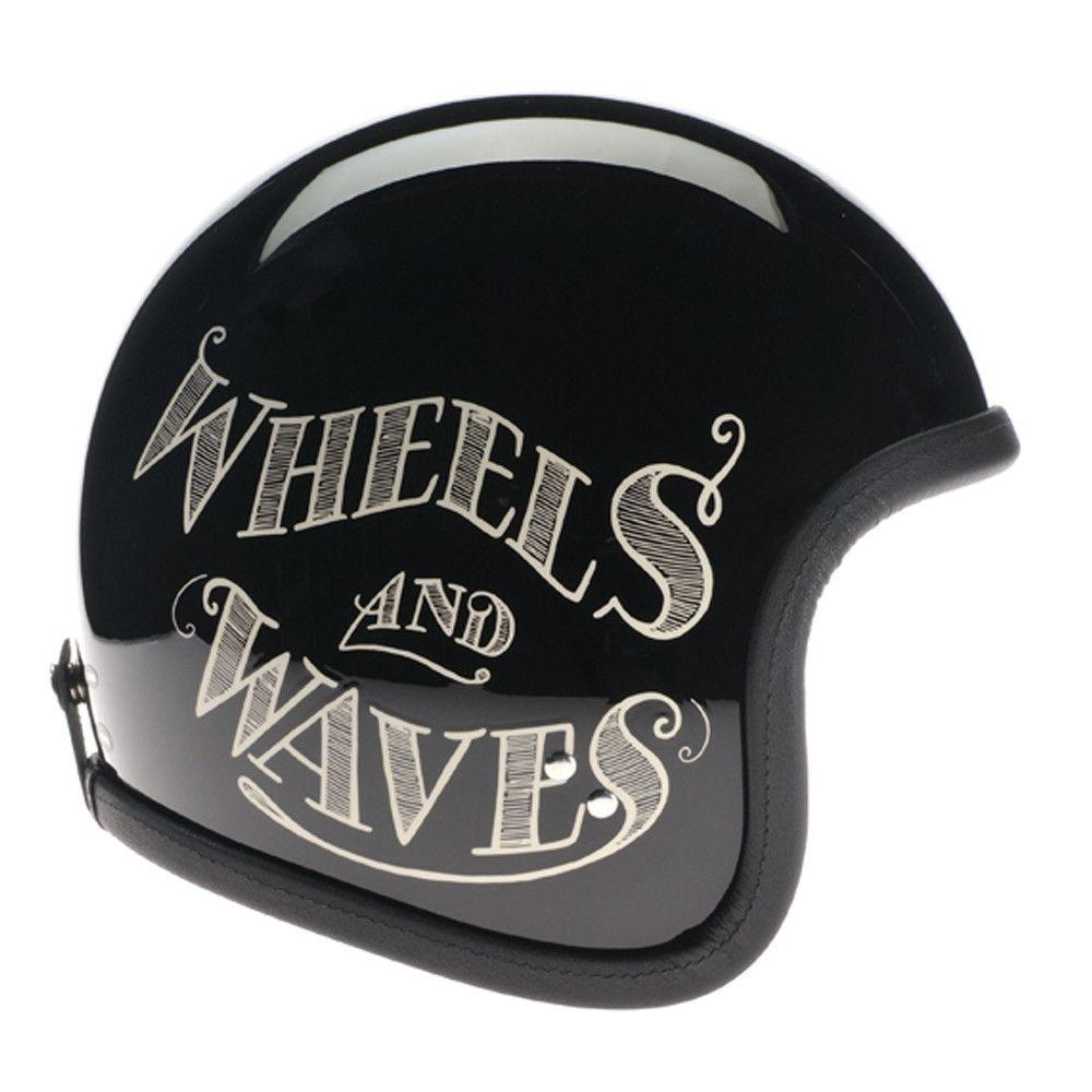 93020 - Noir Cream Wheels and Waves 2016 Davida Speedsterv3 Helmet - Davida Motorcycle helmets - 1