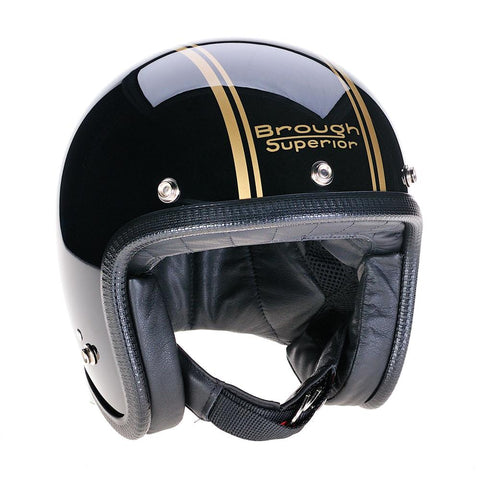 Brough Superior Black Gold PS Gold Davida Speedster v3 Helmet